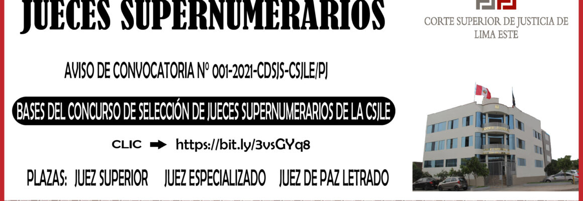 CONCURSO DE JUECES SUPERNUMERARIOS DE LA CORTE SUPERIOR DE JUSTICIA DE LIMA ESTE